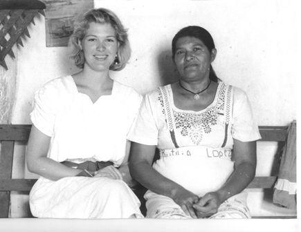 Sandra Rogers sitting beside Rutilia Lopez in San Jose de Copan, Honduras
