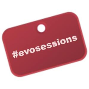 Maroon tag with #evosessions