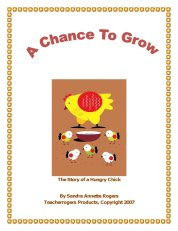 Cover page of story titled, A Chance To Grow, with a hen and 5 chicks eating feed