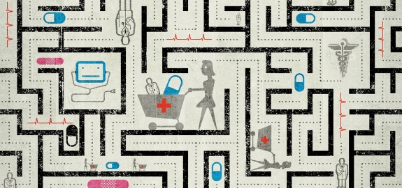 Cartoon image of health care professionals in a maze.