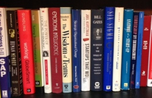 Organizational development books on a shelf