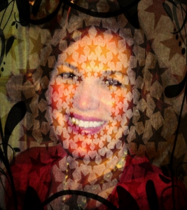 Photo of authro with stars, leaves, and vines over image.