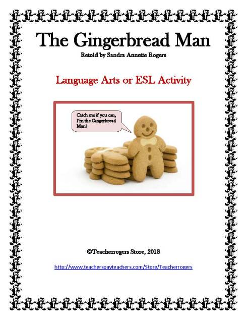 """Gingerbread Man with bow tie near stack of other cookies says, """"Catch me if you can, I'm the Gingerbread Man!"""""""