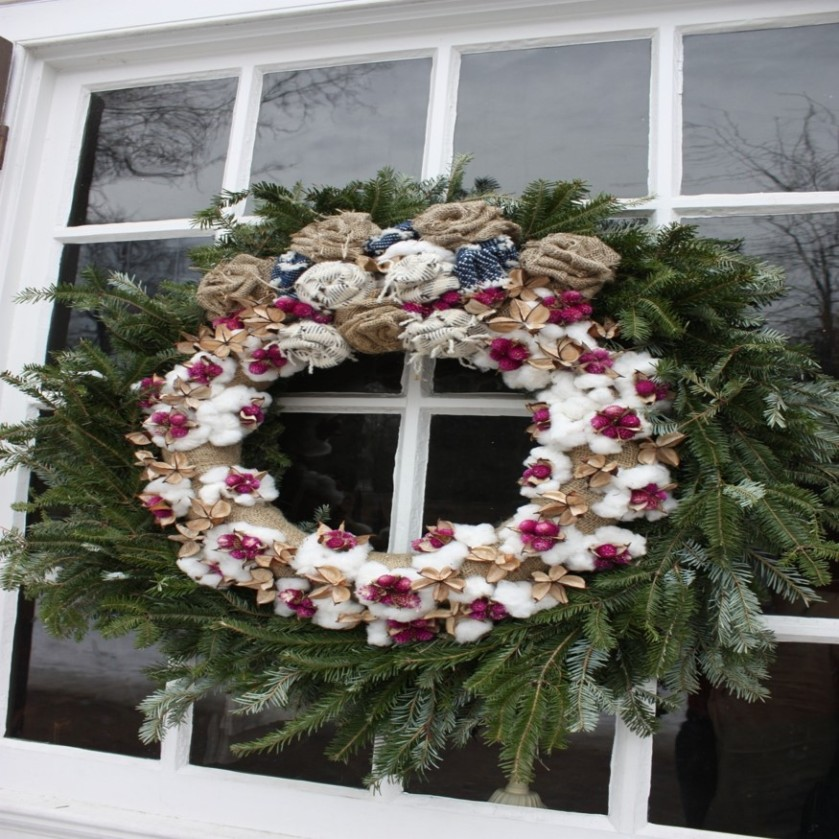 Pine Wreath with burlap flowers from Colonial Williamsburg