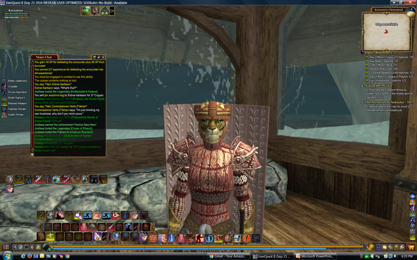 EverQuestII Paladin character is a human-like female puma in armor at home near Frostfang Sea
