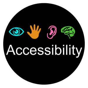 The logo has the word accessibility with four icons on it: eye, hand, ear, and brain.