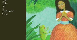 African American girl speaking to a frog near a pond