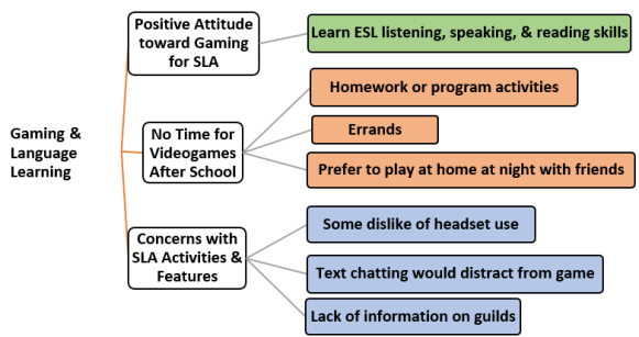 Emergent themes included joy of playing (dominant) and expert gamers/cultural norms/learning (subthemes). Gamers talked about their level and skill. Cultural norms were shared on banned material and Muslim teachings. Students learned English vocabulary, pronunciation, and world history.