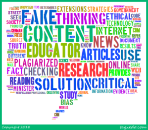 A word cloud based on a blog about fake news detection resources.