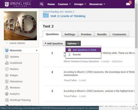 Schoology Test creation options include a drop-down menu for Add Questions to Bank