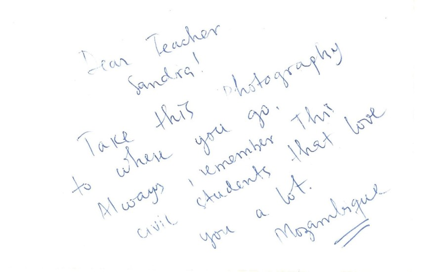 Mozambican student's note on back of class photo