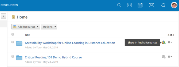 Screenshot of Schoology user's Personal Resources with pop-up comment beside Public Resources icon indicating to share if selected.